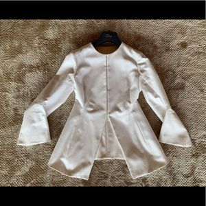 CHRISTIAN DIOR White Jacket With Tie Back Belt